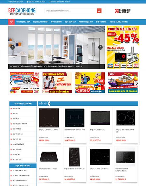 dịch vụ thiết kế website bán thiết bị nhà bếp